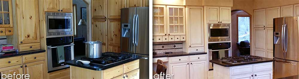 Pine Wood Cabinets Coated with Cameo Color and Glazed for Rustic Look